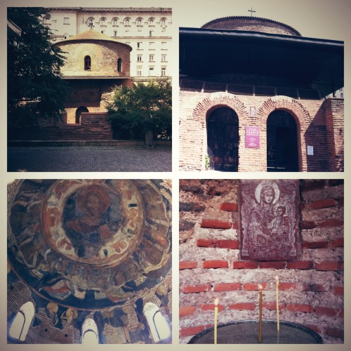 "St. Martyr George the Victor Rotunda: the oldest architectural value of today's Sofia. Roman building transformed by ""Saint Tsar Konstantin the Great"" into a Christian temple. at Ancient Temple ""St. George"" Rotunda Bulgaria hopes to draw tourists intrigued by ancient tombs, mosaics and sewage systems later this year, thanks to engineers excavating a new line for the Sofia metro who stumbled across a street of prime real estate - from the 4th century AD:  Beneath modern Sofia lie the remains of Serdica, a lively, cosmopolitan city where Constantine the Great, the first Christian Roman emperor, lived for a year while looking for a new capital for his empire. ""Serdica was a major metropolis and contains the physical remains of Thracian, Greek, Roman and Byzantine cultures - so it should not be any less significant,"" he said. Emperor Constantine lived in Serdica for over a year while looking for a new capital in 316 AD as he could no longer effectively control his empire from Rome, a choice Kiernan said was based on Serdica's geographical position. ""From there he could react fast to problems on the border as it was near the Danube frontier but also close to Asia Minor"". Little was known about his stay in the provincial city until a whole street of 4th-5th century AD houses were found during excavations for a new Sofia metro line. ""The constructions are mainly from the time when Serdica was the capital of the Roman province Inner Dacia - it was then that the city was at its largest and most flourishing,"" said archaeologist Mario Ivanov. ""We found floor mosaics containing symbolic Roman vine leaves, but also a wheel of fortune and the words 'Felix' inscribed, which were most likely to bring good fortune to the inhabitants,"" said Ivanov, who heads the excavation team. City officials plan to put an array of Roman remains on display in the next month, from bath houses to mosaics and tombs. The Basilica of St Sophia dates back to the 5th century. Repeatedly destroyed and rebuilt, it served as a mosque during the Ottoman rule and is a remarkable mixture of Byzantine architecture, Islamic arches and Orthodox Christian icons. Beneath the red-brick building, archaeologists found one of the first Christian catacombs. A well-preserved necropolis from the 4th century AD, containing around 100 tombs, will soon be ready for visitors. Glass screens on the floor of the church will allow a view of the tombs from above, and narrow underground passages will allow visitors to explore the lighted crypts of the necropolis. ""The burial ground contains rich wall paintings made up of vine leaves, Maltese crosses and other early Christian symbols,"" said Yunian Meshekov, lead archaeologist of the excavations under the St Sophia Church. Sofia has thousands of ancient sarcophagi scattered beneath the city centre, and the tombs discovered below the church are thought to hold the remains of early Christian dignitaries. ""They are most likely to be of wealthy citizens of Serdica who were related either to the new religion or to the actual church and there is a possibility that the remains of an early bishop are there,"" says Meshekov."