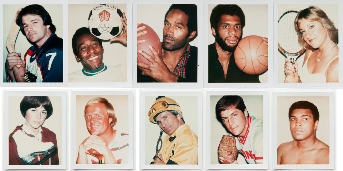 """10 Sports Figures"" by Andy Warhol Obsessed with celebrity, consumer culture, and mechanical (re)production, Pop artist Andy Warhol created some of the most iconic images of the 20th century. As famous for his quips as for his art—he variously mused that ""art is what you can get away with"" and ""everyone will be famous for 15 minutes""—Warhol drew widely from popular culture and everyday subject matter, creating works like his 32 Campbell's Soup Cans (1962), Brillo pad box sculptures, and portraits of Marilyn Monroe, using the medium of silk-screen printmaking to achieve his characteristic hard edges and flat areas of color. Known for his cultivation of celebrity, Factory studio (a radical social and creative melting pot), and avant-garde films like Chelsea Girls (1966), Warhol was also a mentor to artists like Keith Haring and Jean-Michel Basquiat. His Pop sensibility is now standard practice, taken up by major contemporary artists Richard Prince, Takashi Murakami, and Jeff Koons, among countless others. © 2012 The Andy Warhol Foundation for the Visual Arts, Inc. / Artists Rights Society (ARS), New York"
