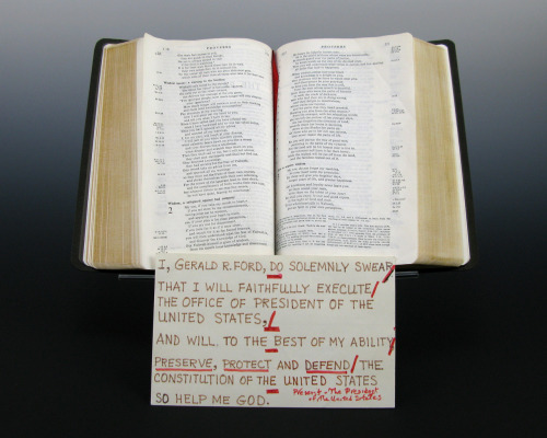 "ourpresidents:  Gerald R. Ford used this family bible to take the Oath of Office as 38th President of the United States.   On August 9, 1974, Gerald R. Ford assumed the office of the Presidency after President Richard Nixon resigned. The swearing-in ceremony took place in the East Room of the White House. Ford placed his hand on this family Bible for the Oath of Office. In his remarks, Ford said,  ""The oath that I have taken is the same oath that was taken by George Washington and by every President under the Constitution. But I assume the Presidency under extraordinary circumstances never before experienced by Americans. This is an hour of history that troubles our minds and hurts our hearts.""  -from the Ford Library  More on Gerald Ford here…"