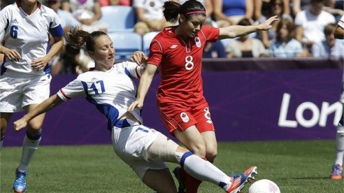 Bronze for the Canadian women's soccer team. Diana Matheson scores two minutes into stoppage time to give Canada the win over France, 1-0. Image Source: rds.ca Nathan, CanadianCardboard