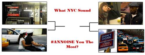 The FINAL FOUR of annoying sounds is on. MTA Exits vs. Motorcycles and Car Alarms vs. Subway Stereos Help pick NYC's most annoying sound by voting here. -Jody, BL Show-