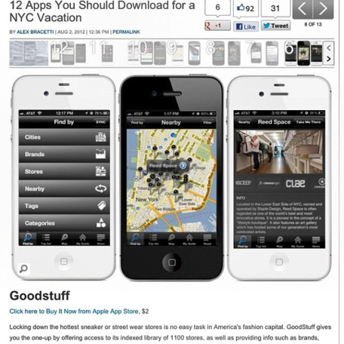 "Wow, more love from Complex mag ""12 apps you should download for a NY vacation"" Goodstuff is one of them :-)  Read the article over at Complex"