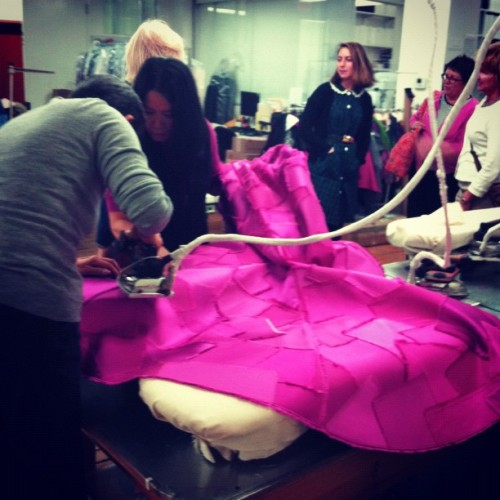 suicideblonde:  making Lady GaGa's dress for the cover of Vogue