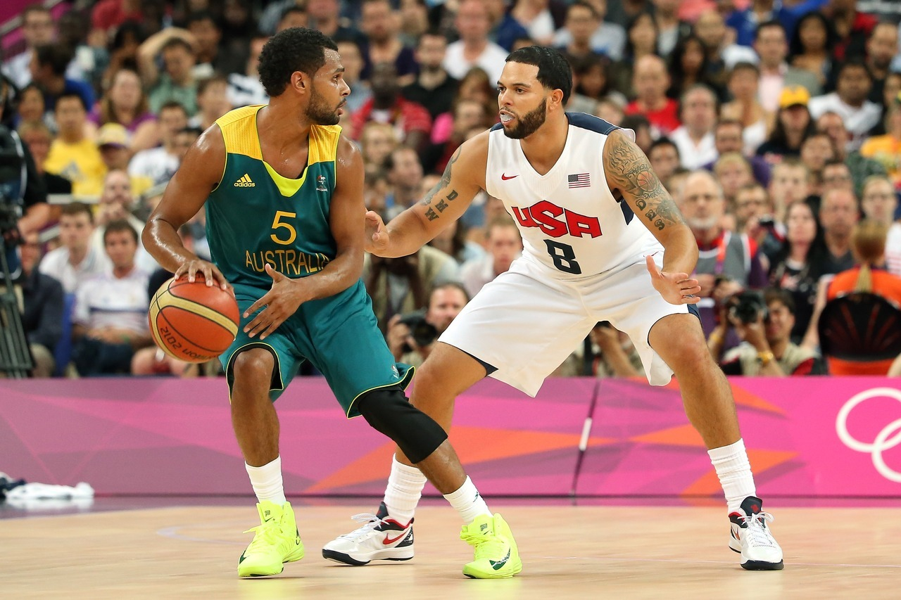 nba:  August 8, 2012: USA Basketball defeats Australia 119-86 in Quarterfinals at 2012 Olympics.   Patty Mills, top scorer of all 12 teams in the tournament, with 127 points from six games at the London Olympics 2012.