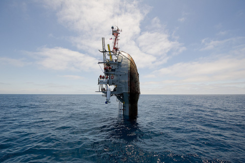 55 feet remain visible after the crew of the Floating Instrument Platform, or FLIP, partially flood the ballast tanks causing the vessel to turn stern first into the ocean. by Official U.S. Navy Imagery on Flickr.Via Flickr: PACIFIC OCEAN(Jun. 30, 2012) 55 feet remain visible after the crew of the Floating Instrument Platform, or FLIP, partially flood the ballast tanks causing the vessel to turn stern first into the ocean. The 355-foot research vessel, owned by the Office of Naval Research and operated by the Marine Physical Laboratory at Scripps Institution of Oceanography at University of California, conducts investigations in a number of fields, including acoustics, oceanography, meteorology and marine mammal observation. (U.S. Navy photo by John F. Williams/Released) 120630-N-PO203-241 Join the conversationwww.facebook.com/USNavywww.twitter.com/USNavynavylive.dodlive.mil