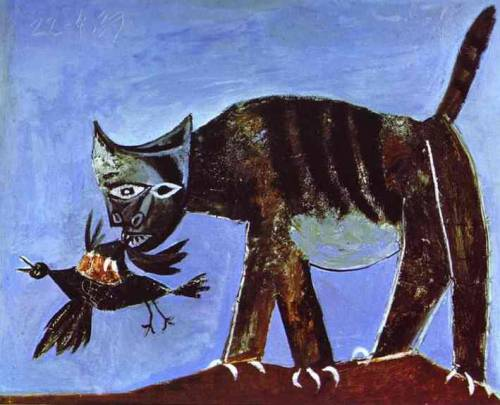 Pablo Picasso, Wounded Bird and Cat, 1938.