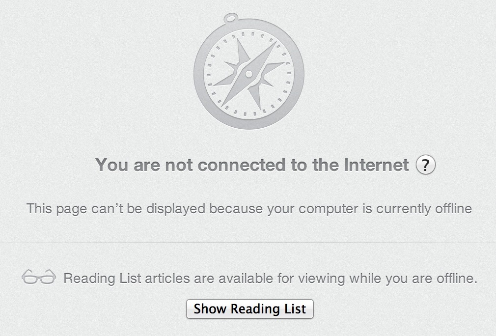 If you're stuck offline, Safari 6 promotes Reading List for something to do