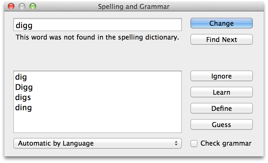 Display OS X's Spelling and Grammar panel for gooder writing