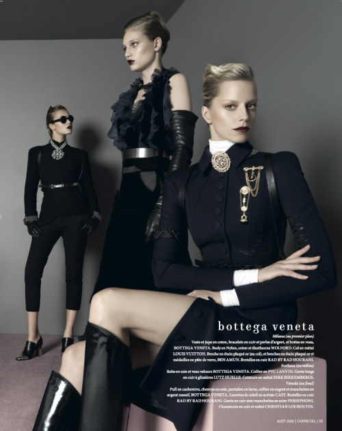 "collections-from-vogue:  Milana Keller, Svetlana Kudina & Veneda in ""The Fall"" Photographed by Jonathan Segade & Styled by Peju Famojure for L'Officiel Paris, August 2012"