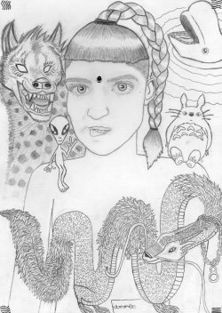 ashitloadofstars:  my grimes drawing.I drew her with her spirit animals, an alien, totoro and the 'the fifth element' signs (even though you can't see them very well :c) and btw that on her head isn't a bug it's a little red stone thingy   Lovely :D!