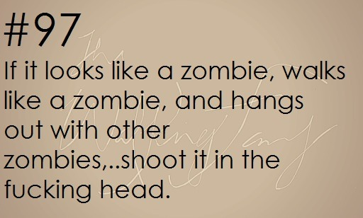 theinevitablezombieapocalypse:  Survival Tip: If it looks like a zombie, walks like a zombie, and hagns out with other zombies …shoot it in the head! zombieapocalypsesurvivaltips:   Zombie apocalypse survival tip #97    Good tip