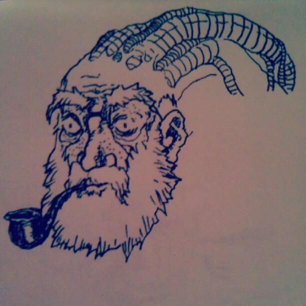 #drawings #doodles #marker #wip #beard #pipe #cyborg #cyberpunk #braindrain (Taken with Instagram)