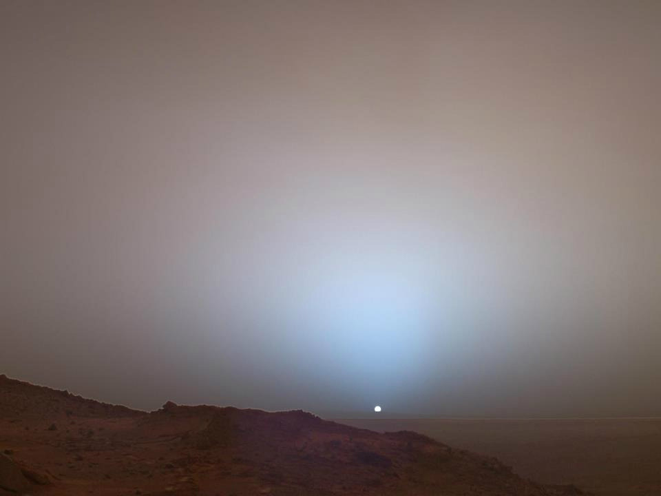 themadeshop:  Sunrise on Mars  This is one of my favorite pictures. Ever. I wish I could stand two feet on that planet and watch the sun drop below the horizon, and a bright blue light of the Earth come into view.