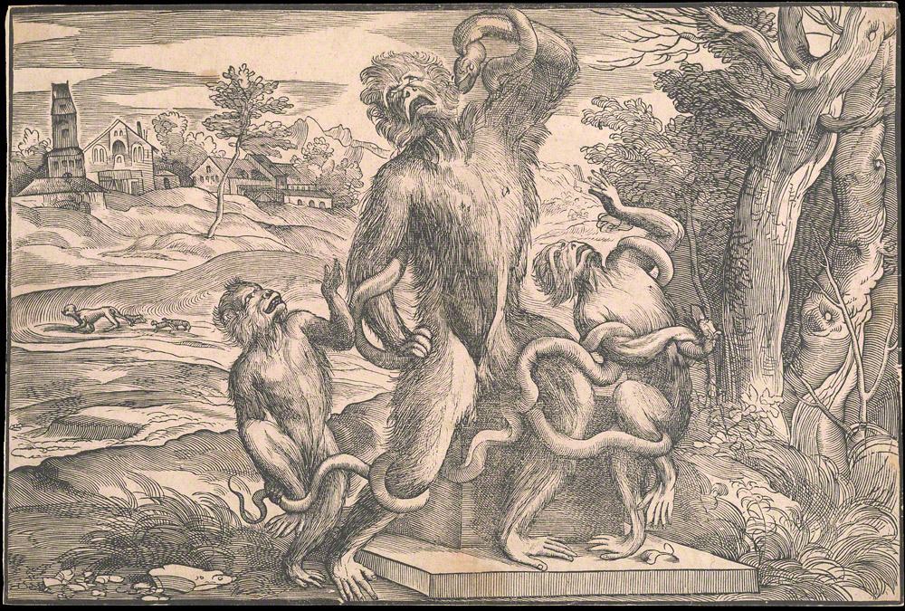 Planet of the apes. Caricature of the Laocoön, ca. 1540–45, Niccolò Boldrini after a design attributed to Titian. The Getty Research Institute, 2012.PR.2