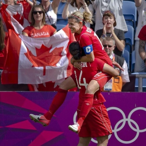 Canada's Christine Sinclair celebrates with teamamte Melissa Tancredi after their win over France in the women's bronze medal soccer match at the 2012 Summer Olympics in Coventry, England, Thursday August 9, 2012. (Kevin Van Paassen/The Globe and Mail) #olympics #london2012 #soccer #canada  (Taken with Instagram)