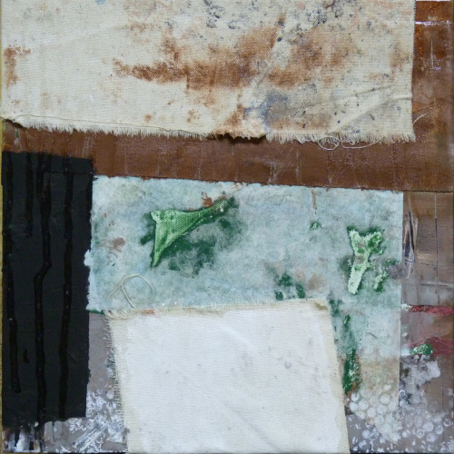 "Composition #29512""x12""Acrylic, latex, paper, glue, raw canvas and varathane on canvas."