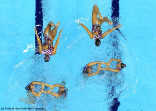 olympics:  Making shapes in the water with team synchronized