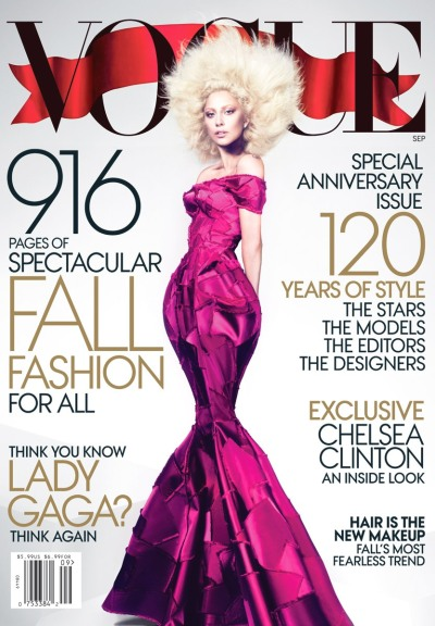 "the VOGUE US ""SEPTEMBER ISSUE"" cover LadyGaga by Mert&Marcus for the 120 years of Vogue magazinegown by Marc Jacobs The issue will be the largest ever made, with a total of 946 pages! Out on August 14, 2012"
