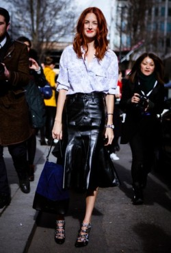 Taylor Tomasi Hill in Fluted Leather Skirt