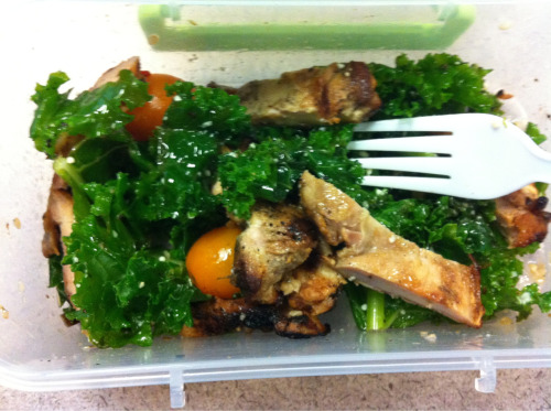 kale, grilled chicken, yellow tomatoes, walnuts, lemon juice, extra virgin olive oil, ground pepper and parmesan cheese. (thanks, chef dad!)