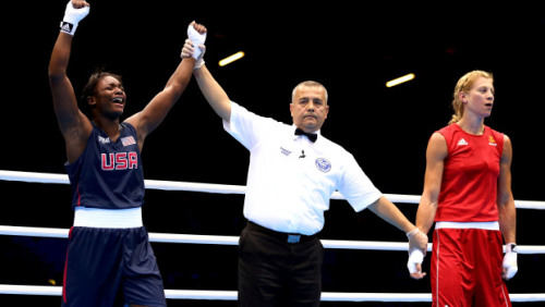 aliceinnappyland:   Claressa Shields wins the GOLD! The teenaged (17) Flint, Michigan native is the first American woman to win a gold medal for USA women's boxing! She beat Nadezda Torlopova of Russia 19-12, to win in the middleweight division. She's the second-youngest fighter to win gold in either men's or women's boxing.