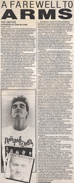"Review of ""Strangeways, here we come"" by Steve Sutherland for the NME."