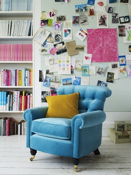 happy mess inspirational wall (via We Love! Whimsical / Vibrant fabric)