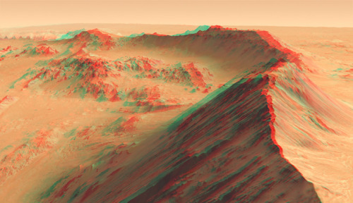 "Stereo image of mountains on Mars, from ""Data + Art,"" a show co-curated by Dan Goods for the Pasadena Museum of California Art. (JPL/Caltech)"