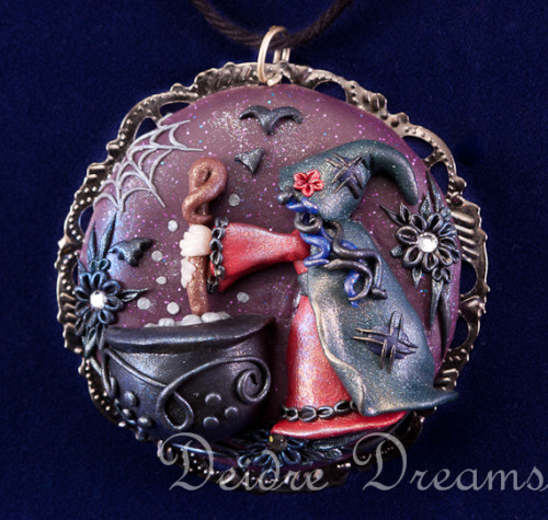 Cauldron Bubble Witch Wicca Goth Halloween Pendant by ~DeidreDreams