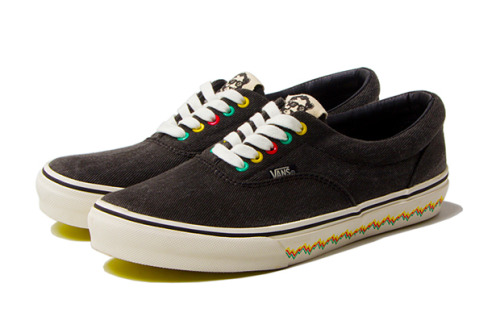 Stussy x Alakazam! x Vans Era a look at the Vans Era as interpreted by Stussy and Alakazam! Brown denim uppers with Yellow/Green/Red accents on the eyelets and the midsole. definitely got something special going with the lines on the midsole.  grab these August 11th  Related articles Stussy Deluxe x Timberland NM Field Boot (hypebeast.com)