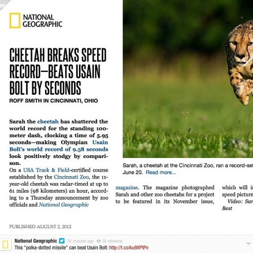 News jacking at its finest. Well played, @natgeo. #olympics #branding #usainbolt #todiworld (Taken with Instagram)