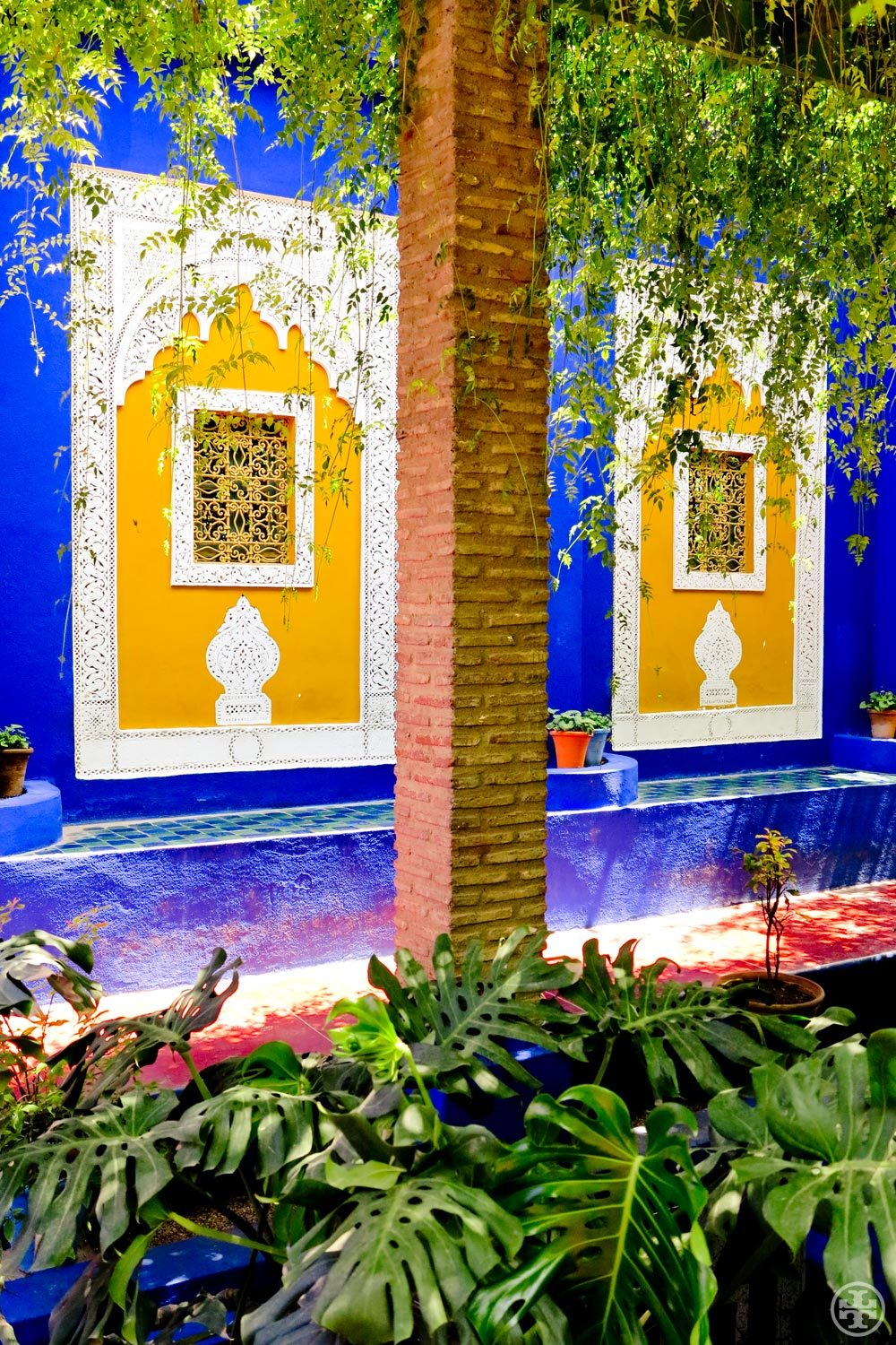 M is for Majorelle Garden  Yves Saint Laurent's bohemian oasis in the middle of Marrakech. That bright blue throughout? It's trademarked after the garden's designer, French artist Jacques Majorelle.