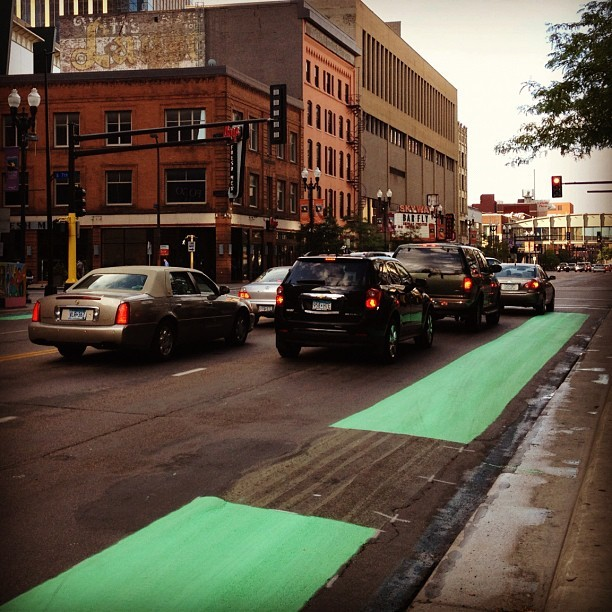 They painted the bike lanes on Hennepin green, this is good news for bikers #minneapolis  (Taken with Instagram)