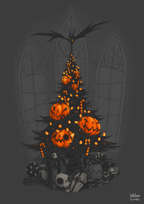 designersof:  I'm Dreaming Of A Dark Christmas A design entry for Threadless' The Nightmare Before Christmas Shirt Design Contest.Click here to help make it a reality!   it's almost halloweeeeeeeen (not really but i wish!)