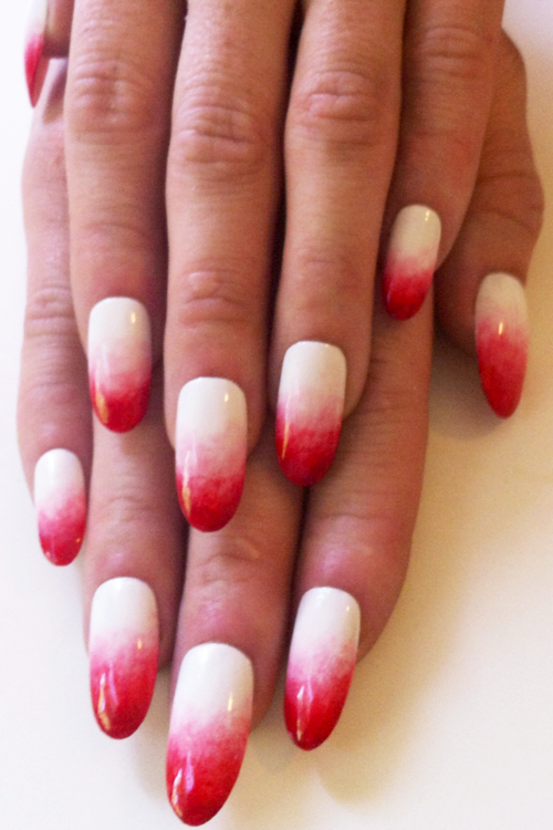 nailinghollywood:  @MPNails of Nailing Hollywood creates a gorg white to blood-red gradient madelinepoolenails:  Wu!