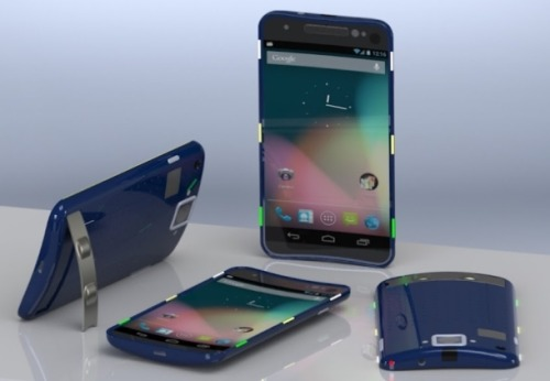 cnet:  Google Nexus D is a curved concept with a kickstand  This slick mockup of a possible future Google Nexus phone flaunts a curved screen and kickstand. It's also shock-resistant and operates as a universal remote. Read more