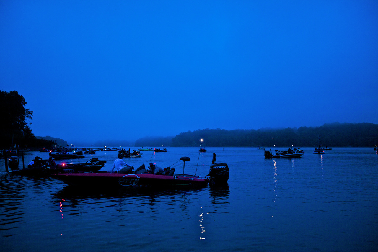 Dawn on Lake Lanier. The start of the 2012 Forrest Wood Cup aka the Super Bowl of bass fishing.