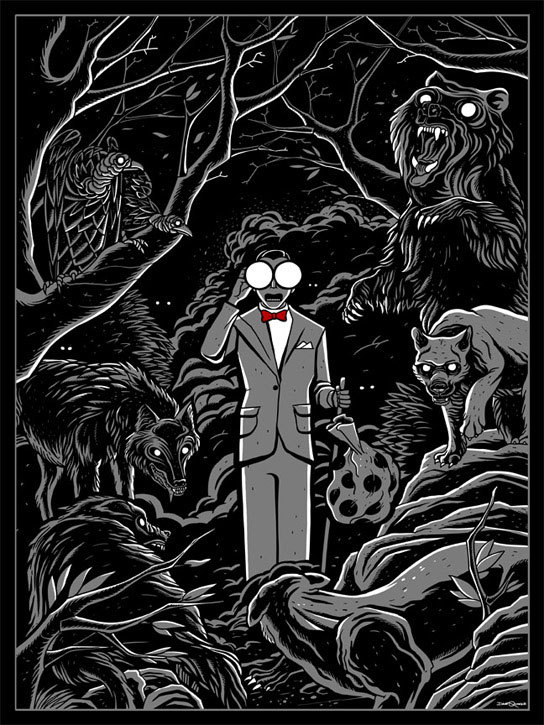 "Pee Wee's Headlight Glasses by Dave Quiggle 18"" X 24"" 4 color screen print. Edition of 50.  Part of the 'Crazy4Cult NYC' art show at Gallery1988 / Tumblr."