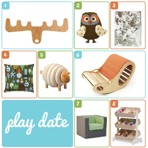 It's time for a play date with Roomscaper! Check out our collection of fun and eco-friendly finds for the Nursery.1. Moose on the Loose by All Lovely Stuffhttp://bit.ly/QY6mZf2. Owl Cushion by Ferm-Livinghttp://bit.ly/MyO9Rm3. Woodland Tumble Stroller Blanket by Dwell Studio http://bit.ly/T3gQtj 4. Kuukuna Cushion by Marimekkohttp://bit.ly/OBDLJB5. Lacing Sheep by Plan Toyshttp://bit.ly/R66iGZ6. Bean Rocker by Knoendhttp://bit.ly/PsINqi7. Cubino Chair by Monte Designhttp://bit.ly/MbUp008. Toy Store by Oeuf NYChttp://bit.ly/NJeCjK