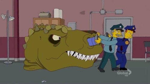 Homer: It's not against the law to sleep in a Tyrannosaurus head. Guard: Sir, you're in an Allosaurus. Homer: I demand to speak to my paleontologist.