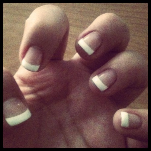 doeverthinginlove:  #nails #whitetip #mani  (Taken with Instagram)