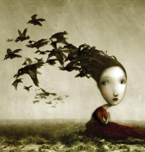 """Crows"", dreamy illustration by brilliant Italian artist Nicoletta Ceccoli.""Cuervos"", surrealista ilustración de la magnífica artista italiana Nicoletta Ceccoli."