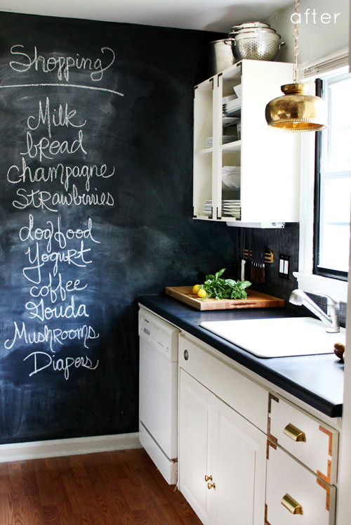 myidealhome:  renovating kitchen with chalkboard (via before & after: Design*Sponge)