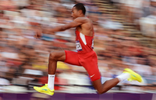American Christian Taylor won gold in the men's triple jump, ahead of his teammate Will Claye, who took the silver medal.