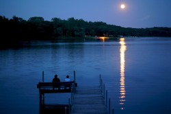 Full moon on Bryant Lake in Minneapolis, Minnesota.