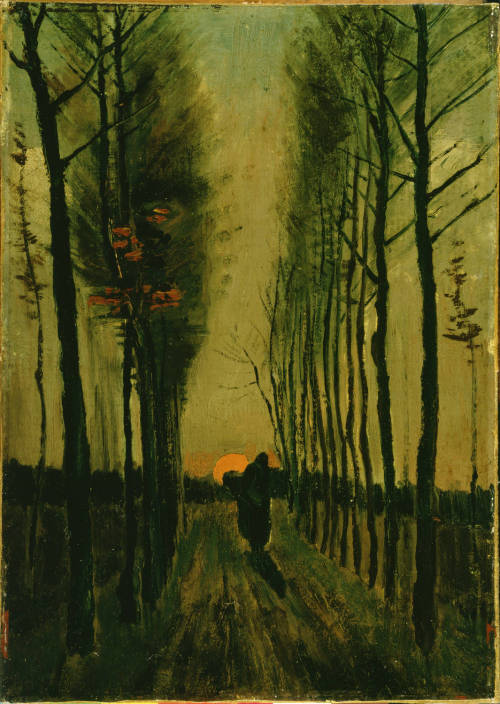 soulvacancy:  Avenue of Poplars at Sunset, 1884 - Vincent Van Gogh