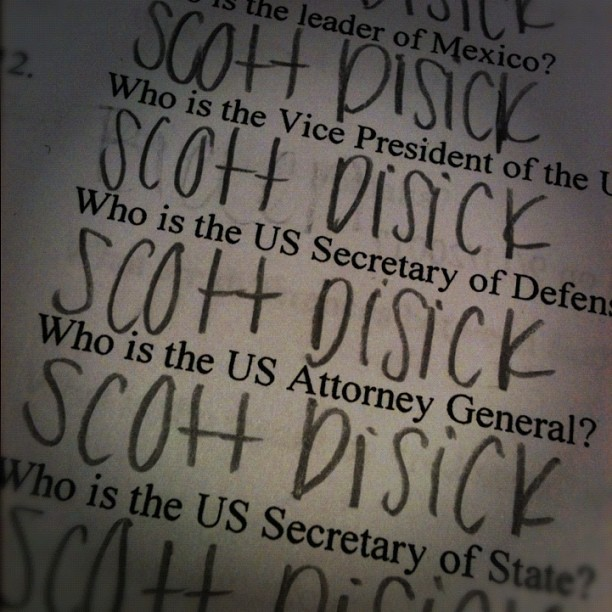 The real answers to my current events pretest..@scottdisick (Taken with Instagram)