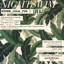 Come join us this upcoming Tuesday at the Roosevelt Hotel for Nightswim with Luv Aj and Stone Cold Fox. Summer ain't over yet and we're going to be previewing our newest collections, sipping on some Peligroso Tequila cocktails and we would love nothing more than to have you lovelies join us. There will be a private trunkshow from 8:30-10pm to view the new collections, so if you would like to come for that portion of the evening, please just RSVP to hello@luvaj.com. Otherwise, the party starts at 10 and everyone is welcome, the more the merrier baby! Looking forward to seeing all your faces there xx