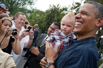 meredithbklyn:  President Barack Obama holds a baby while greeting guests during an Independence Day celebration on the South Lawn of the White House, July 4, 2012. (Official White House Photo by Pete Souza) This official White House photograph is being made available only for publication by news organizations and/or for personal use printing by the subject(s) of the photograph. The photograph may not be manipulated in any way and may not be used in commercial or political materials, advertisements, emails, products, promotions that in any way suggests approval or endorsement of the President, the First Family, or the White House.  You heard the White House. Do not under any circumstances make this picture into a meme!