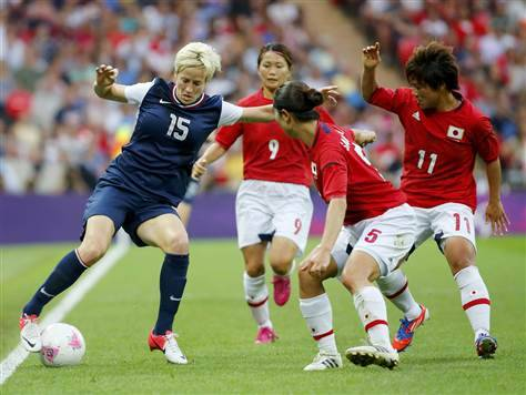 breakingnews:  US, Japan women's soccer teams battle for Olympic gold The highly anticipated gold medal women's soccer game between the U.S. and Japan has just concluded. The game is a rematch of last year's World Cup final, which Japan won in a penalty shootout.Japan is trying to become the 1st team to win the World Cup and Olympic titles in back-to-back years. The U.S. is vying for their 4th Olympic gold medal and 3rd straight. The final drew a crowd of 80,203 to Wembley Stadium, the largest ever to see a women's soccer game at the Olympics. View results on BreakingNews.com.Photo: Megan Rapinoe of the U.S. fights for the ball against Japan's Aya Sameshima. (Mike Blake / Reuters)